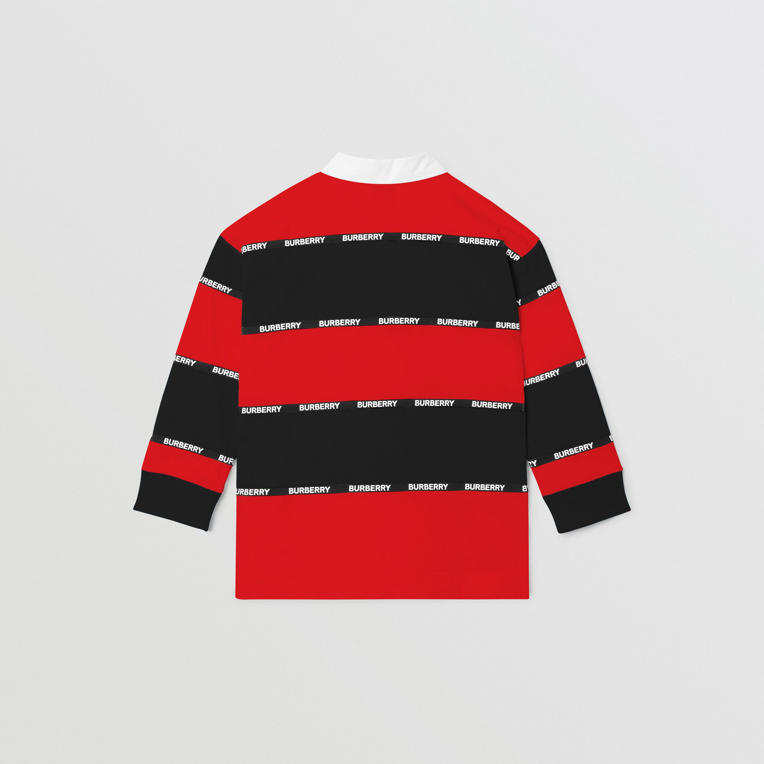 Long-sleeve Logo Tape Striped Cotton Polo Shirt in Bright Red | Burberry Canada - 4