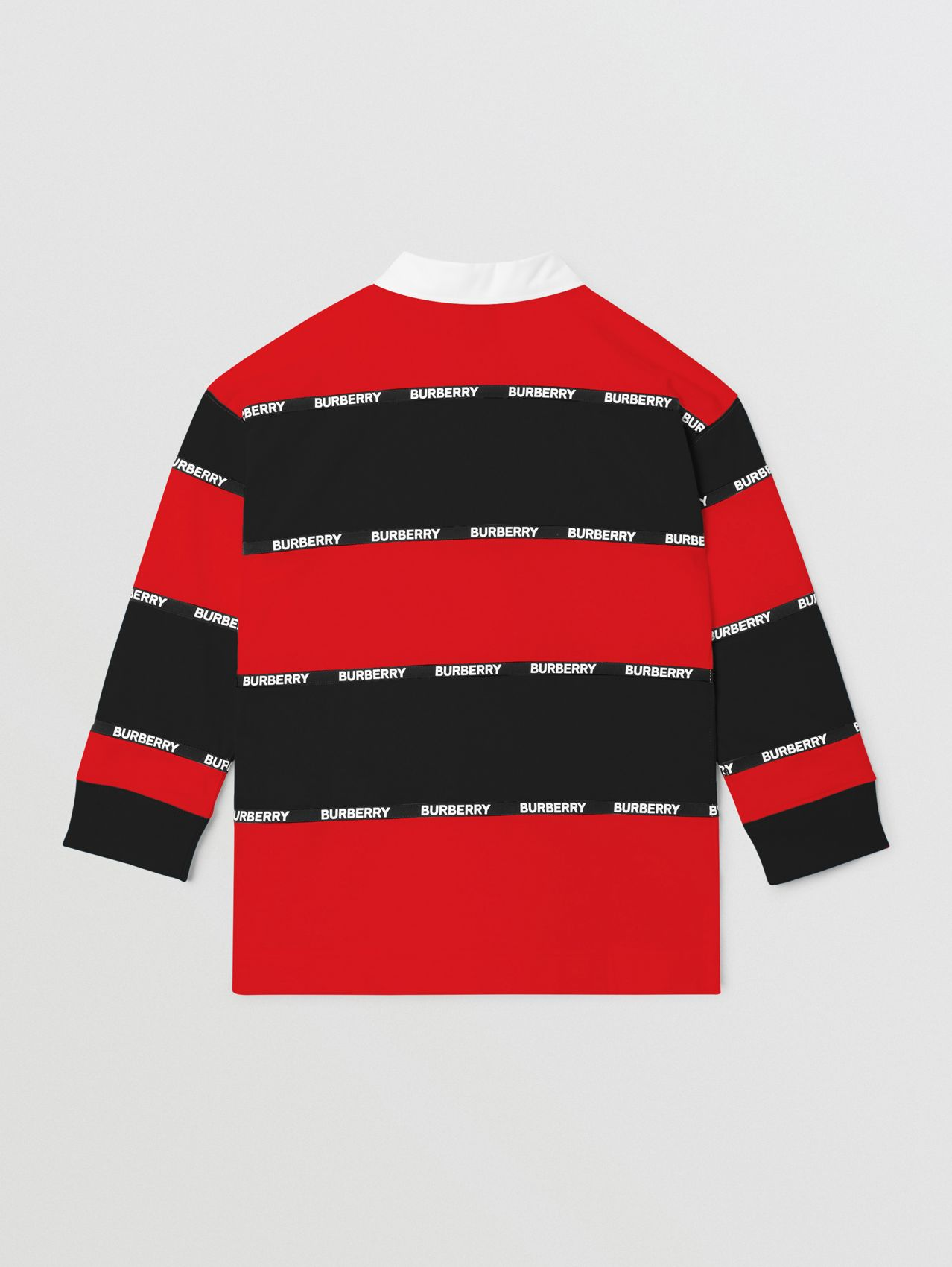 Long-sleeve Logo Tape Striped Cotton Polo Shirt in Bright Red