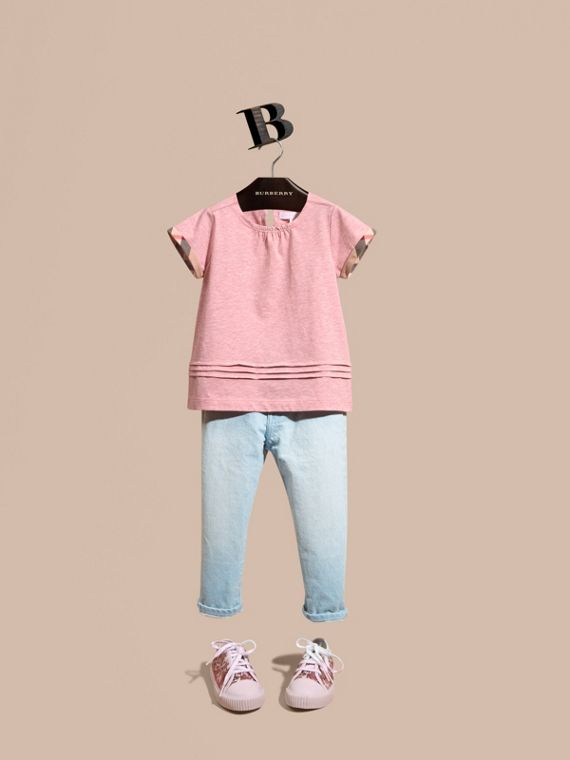 Pleat and Check Detail Cotton T-shirt Light Copper Pink Melange