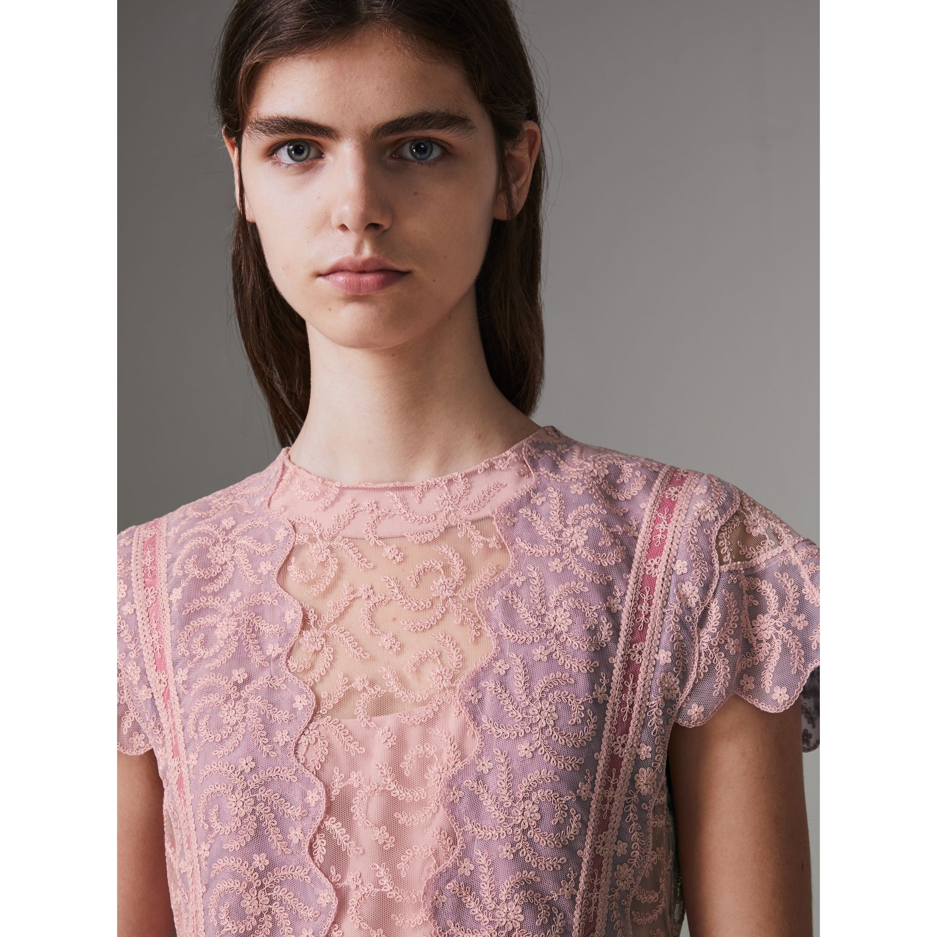 Embroidered Floral Lace and Tulle Dress in Pale Pink - Women | Burberry - gallery image 1