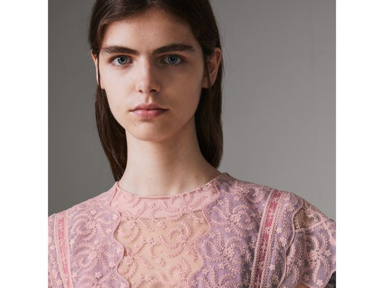 Embroidered Floral Lace and Tulle Dress in Pale Pink - Women | Burberry - cell image 1