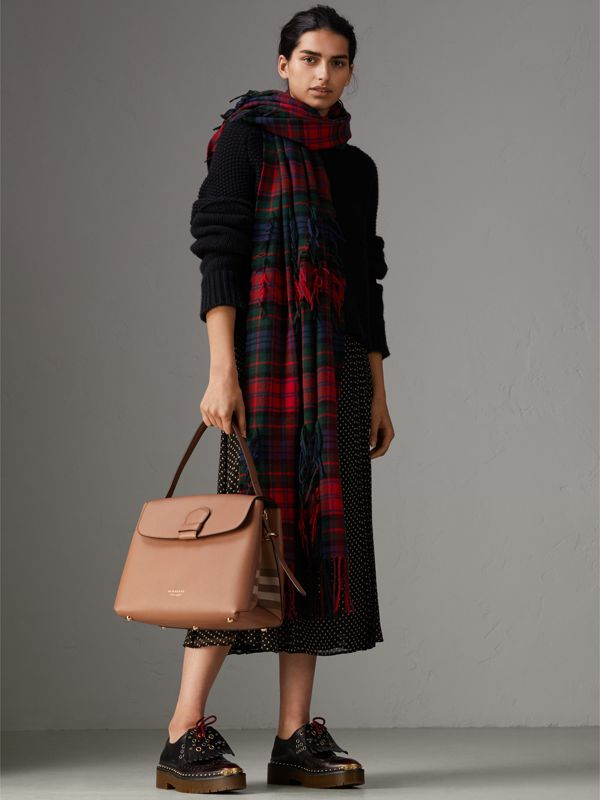 Medium Grainy Leather and House Check Tote Bag in Dark Sand - Women | Burberry Singapore - cell image 2