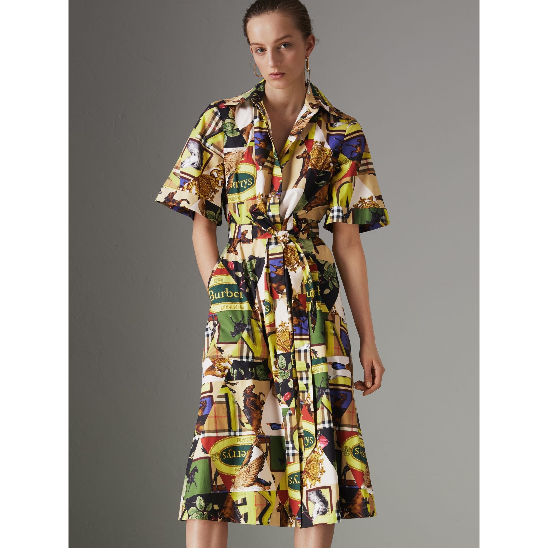 Graffitied Archive Scarf Print Shirt Dress in Bright Yellow - Women | Burberry - gallery image 4