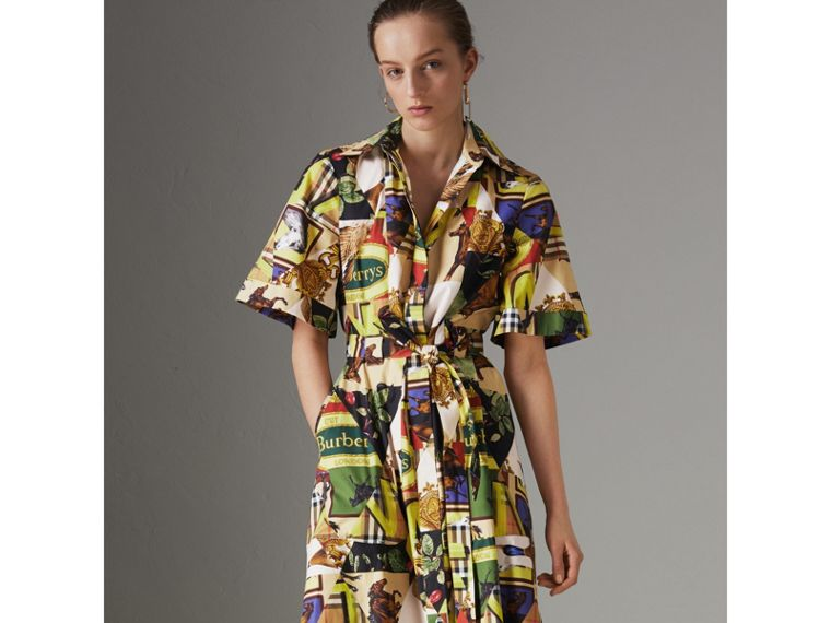 Graffitied Archive Scarf Print Shirt Dress in Bright Yellow - Women | Burberry - cell image 4