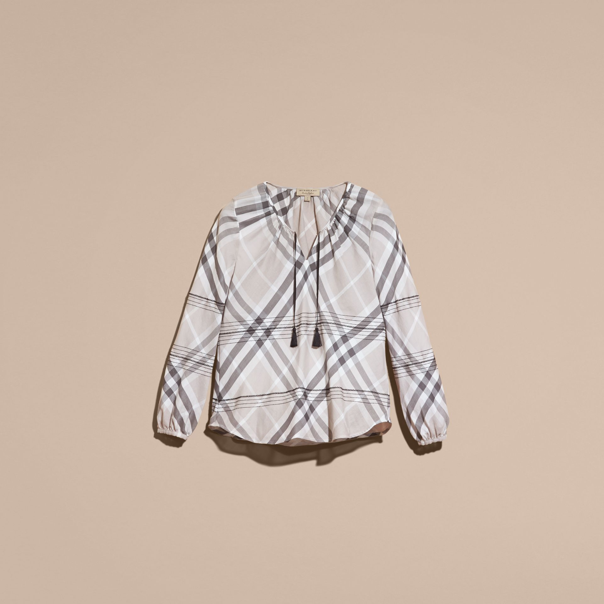 Gris pâle Tunique en coton à motif check avec surpiqûres Gris Pâle - photo de la galerie 4