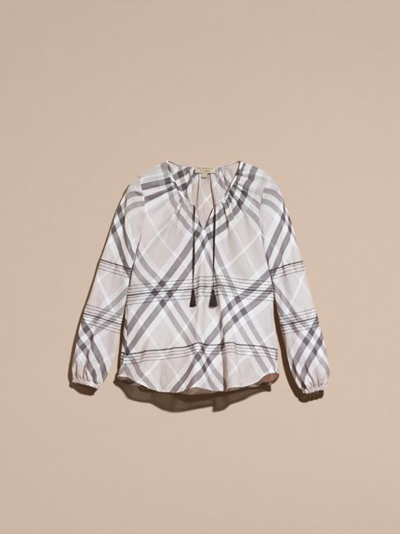 Gris pâle Tunique en coton à motif check avec surpiqûres Gris Pâle - cell image 3