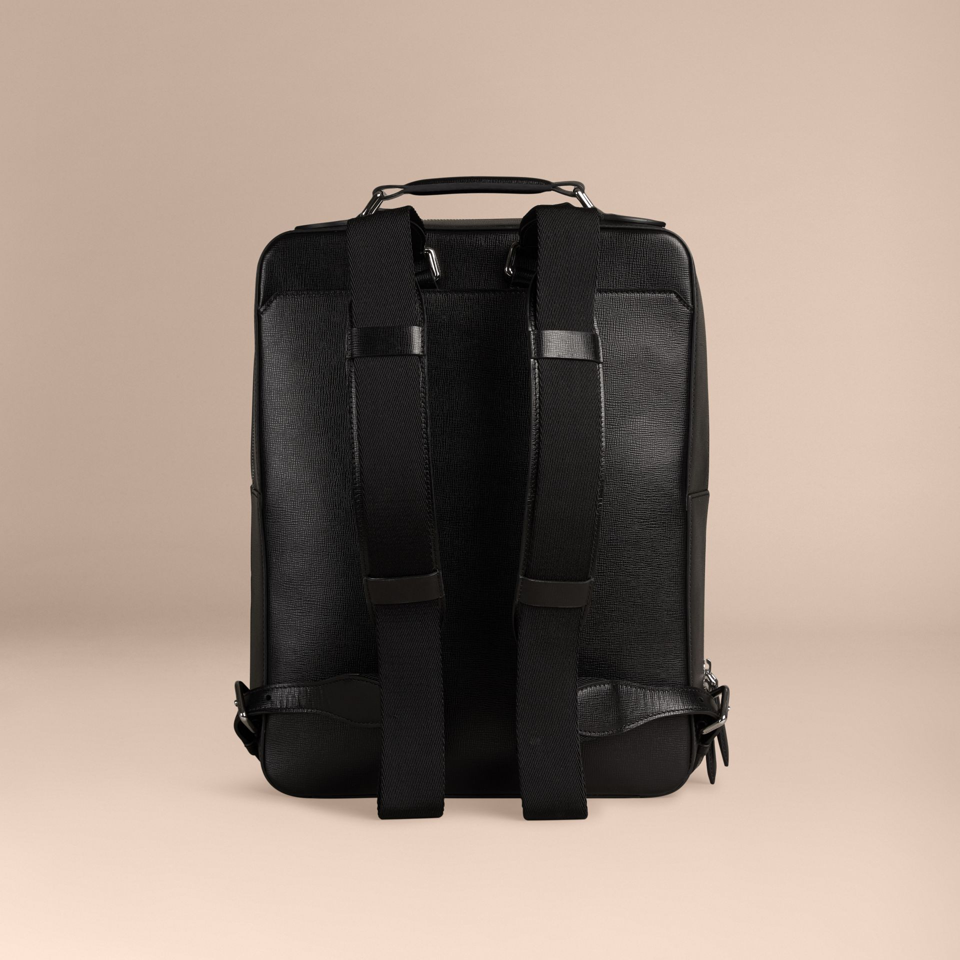 Black London Leather Backpack Black - gallery image 4