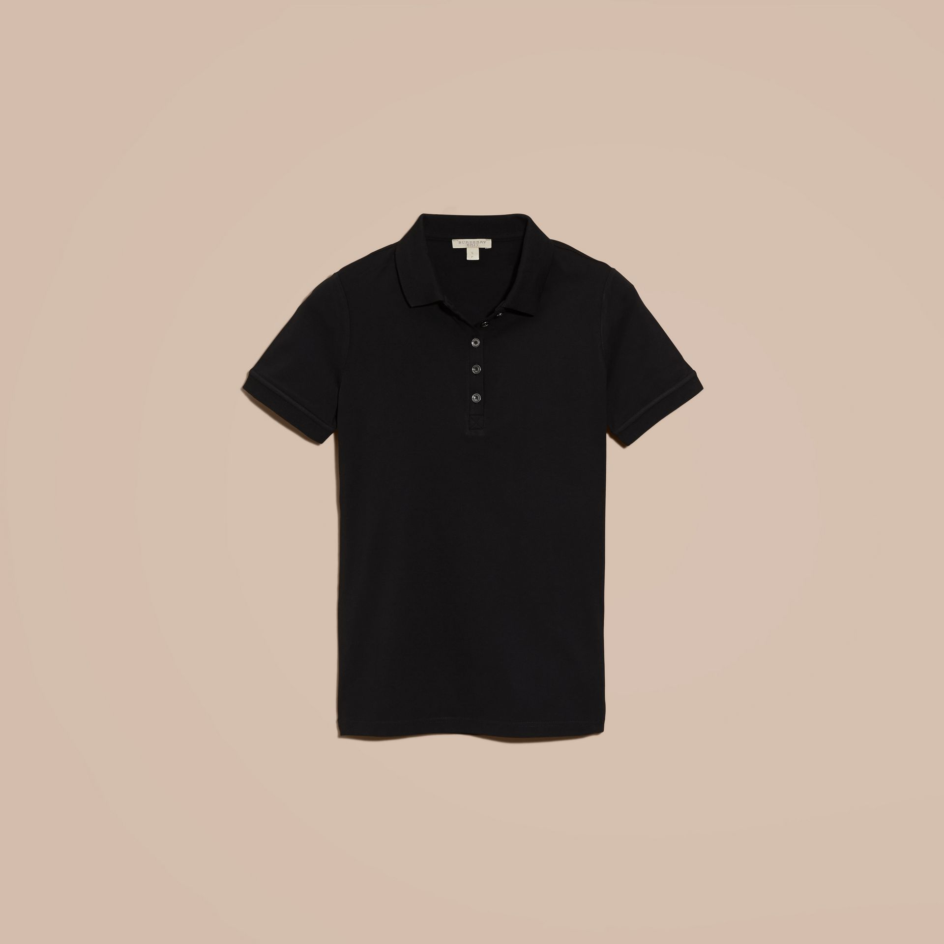 Check Trim Stretch Cotton Piqué Polo Shirt Black - gallery image 4
