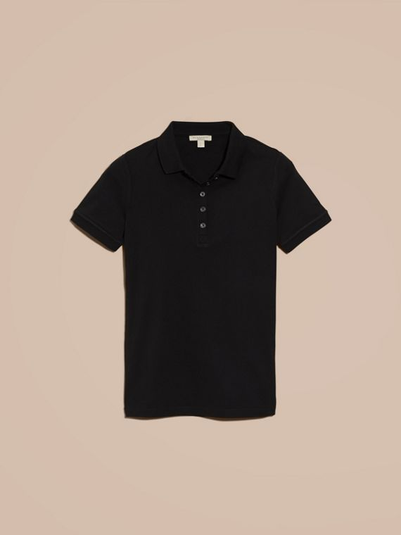 Check Trim Stretch Cotton Piqué Polo Shirt in Black - Women | Burberry Singapore - cell image 3