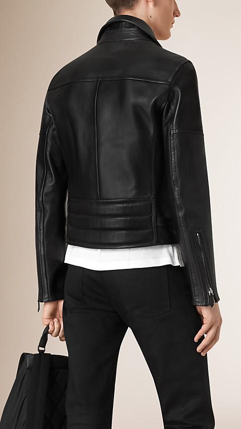 Black Leather Biker Jacket - Image 3