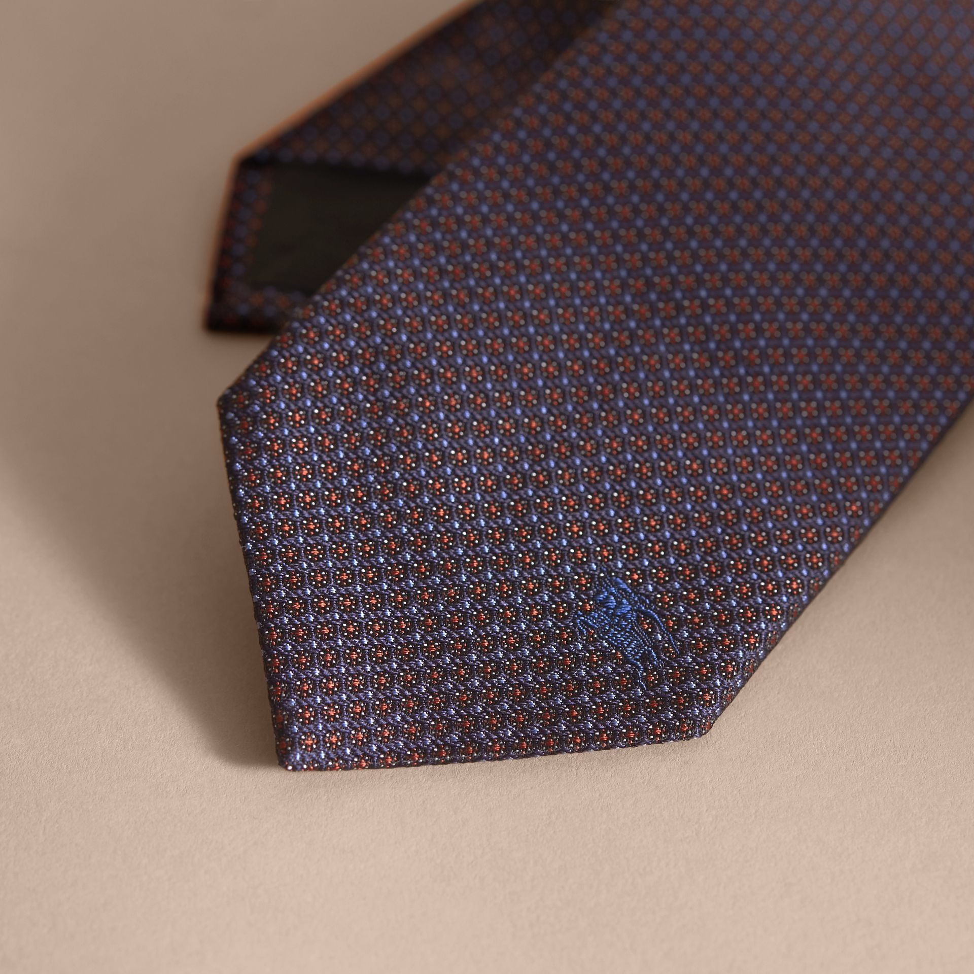 Modern Cut Patterned Silk Tie in Navy - gallery image 2