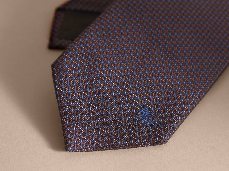Modern Cut Patterned Silk Tie in Navy - cell image 1
