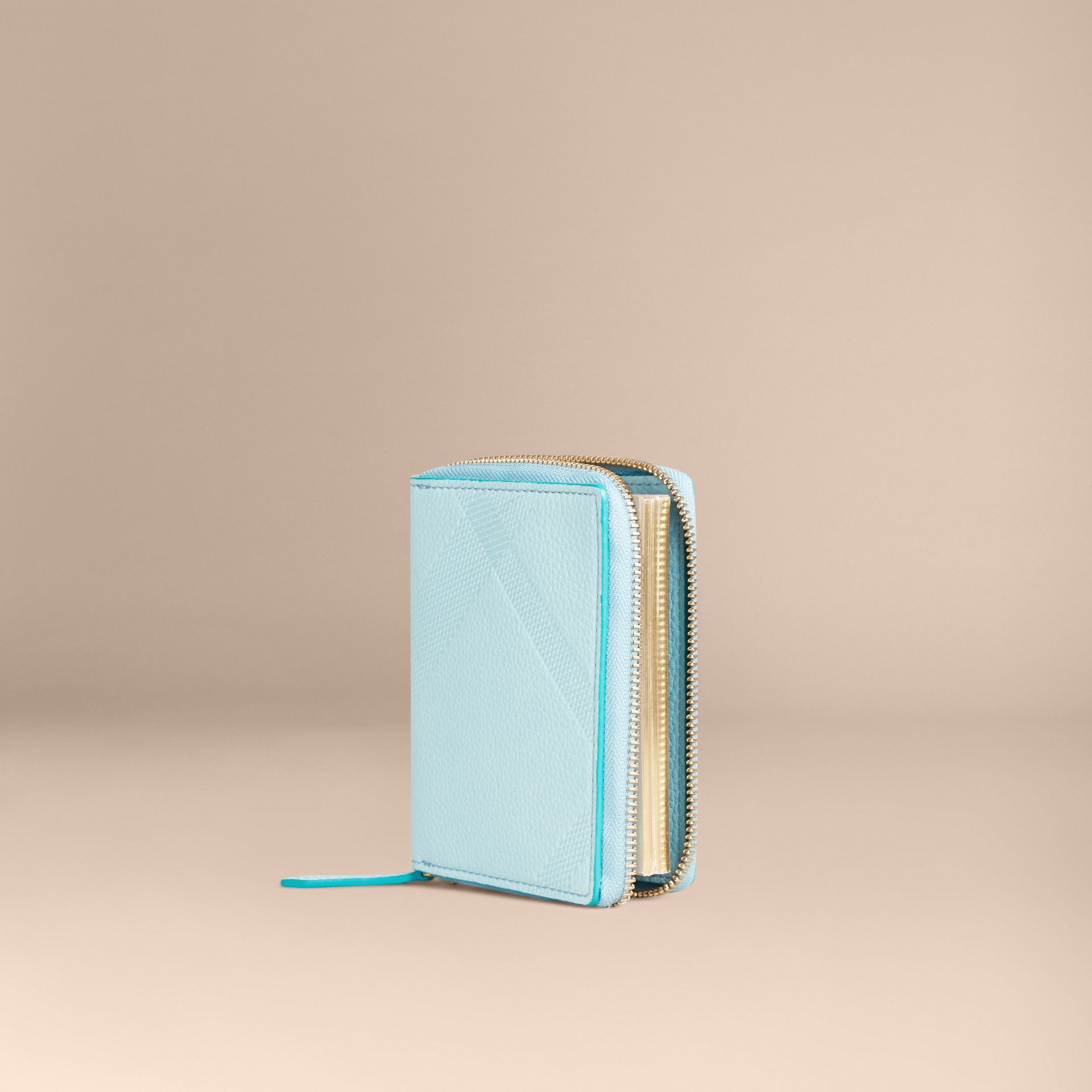 Bright mineral blue Ziparound Embossed Check Grainy Leather Mini Notebook Bright Mineral Blue - gallery image 1