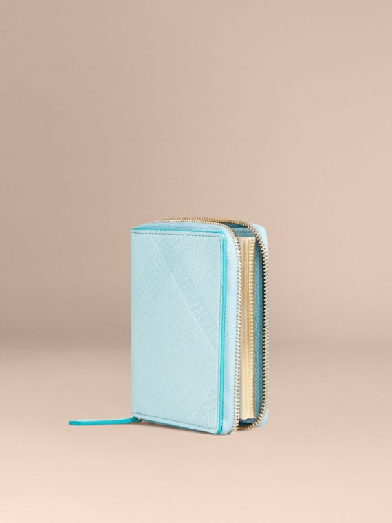 Ziparound Embossed Check Grainy Leather Mini Notebook Bright Mineral Blue