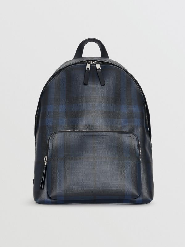 Leather Trim London Check Backpack in Navy/black - Men | Burberry - cell image 3