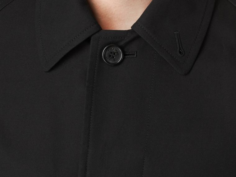 Long Cotton Gabardine Car Coat in Black - cell image 1