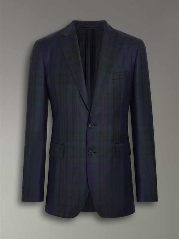 Soho Fit Tartan Wool Twill Suit in Navy - Men | Burberry - cell image 3