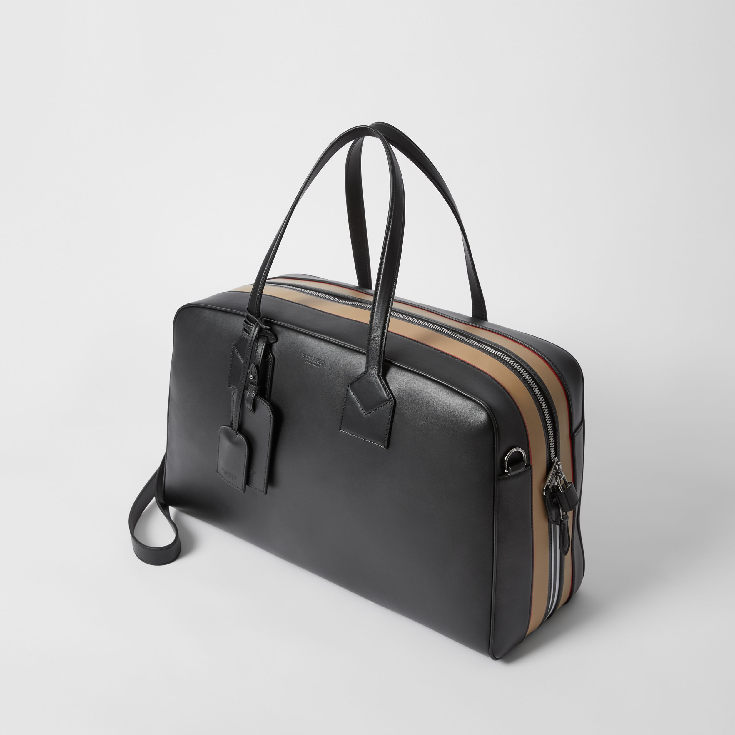Icon Stripe Print Leather Cube Holdall in Black - Men | Burberry - 4