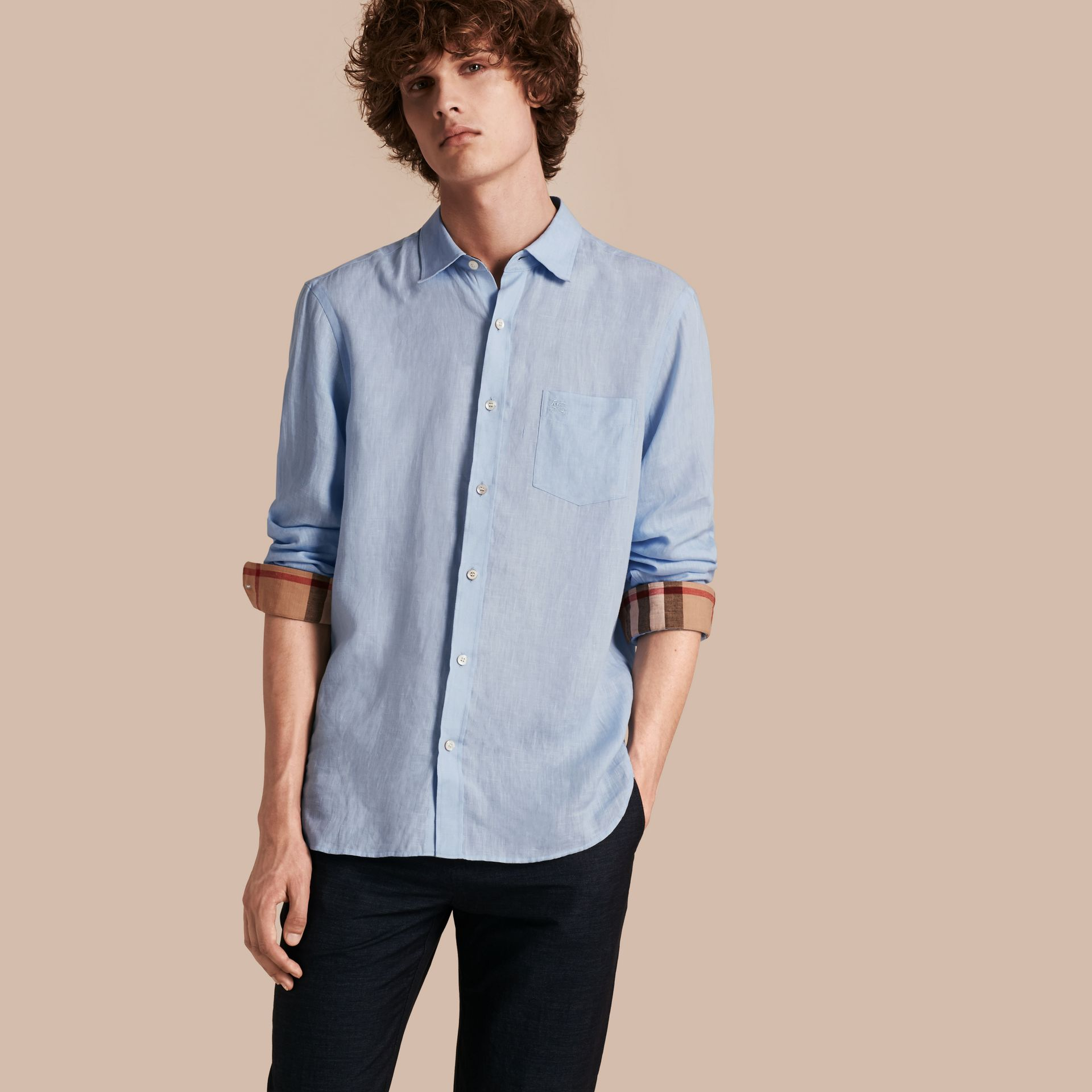 Check Detail Linen Shirt in Pale Blue - gallery image 1