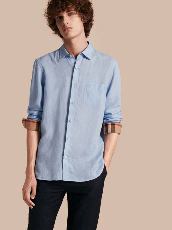 Check Detail Linen Shirt in Pale Blue - Men | Burberry