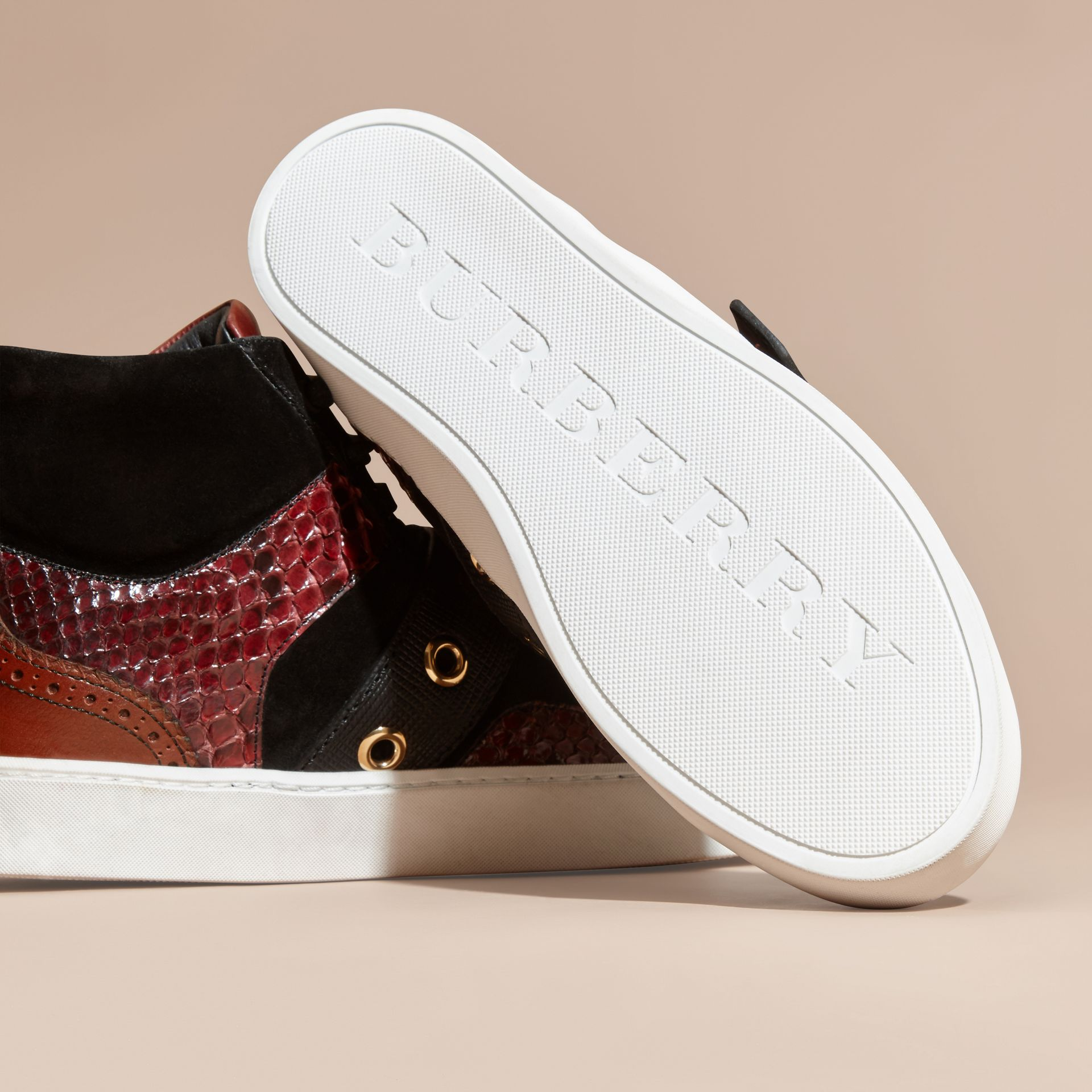 Buckle Detail Leather and Snakeskin High-top Trainers in Bordeaux - gallery image 5