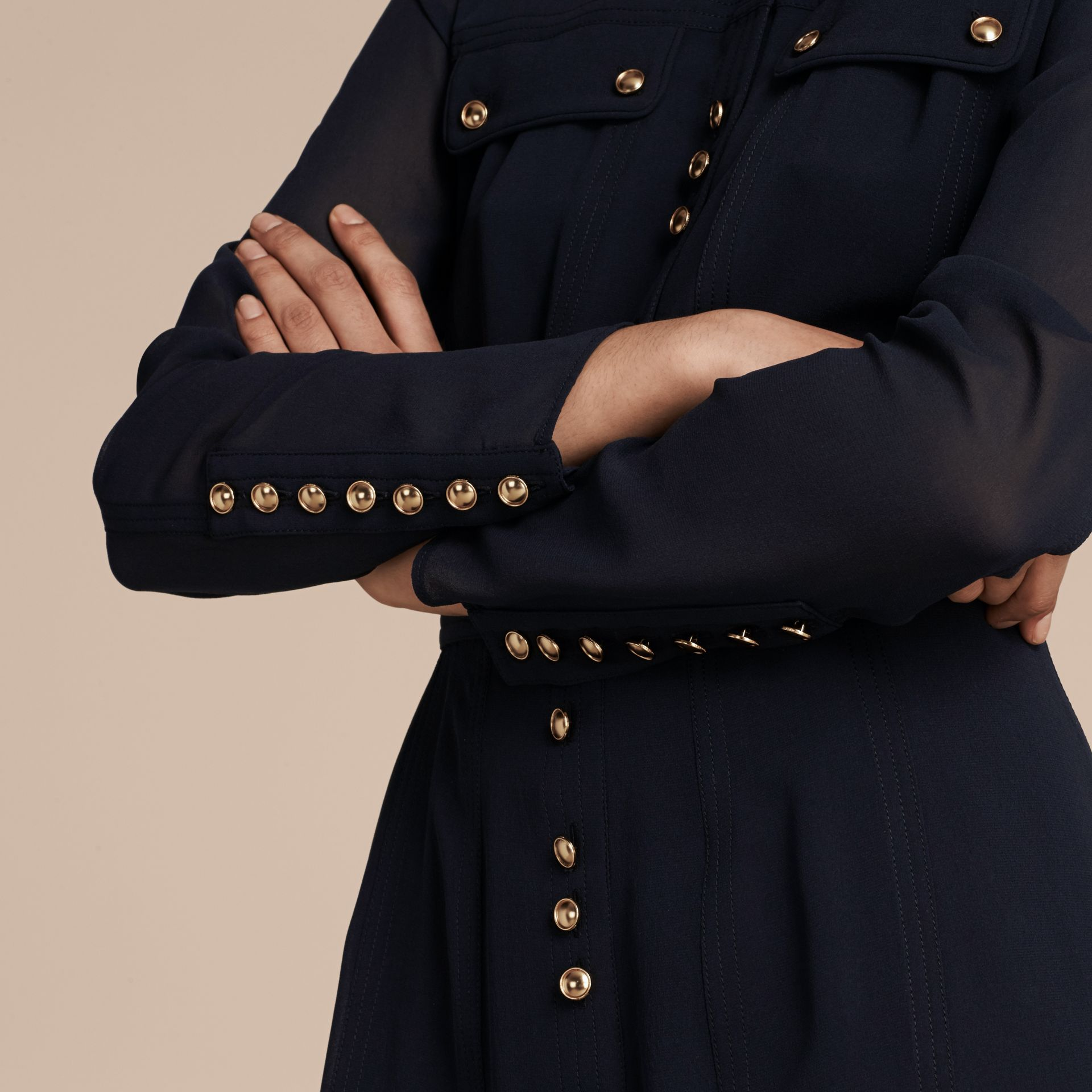 Navy Silk Dress with Polished Buttons - gallery image 6