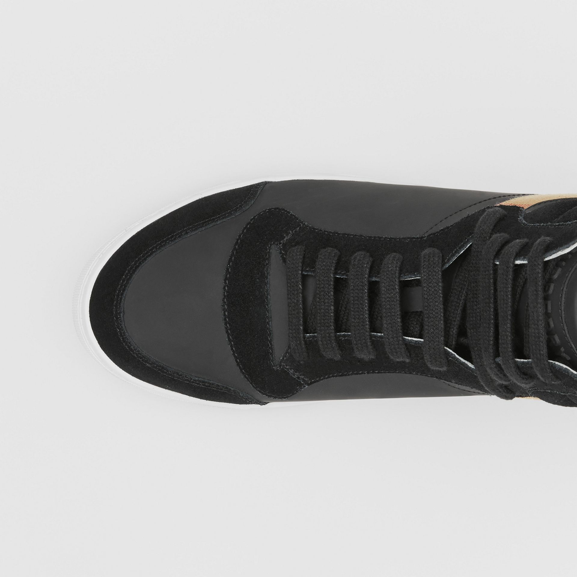 Leather, Suede and House Check High-top Sneakers in Black - Men | Burberry United States - gallery image 1