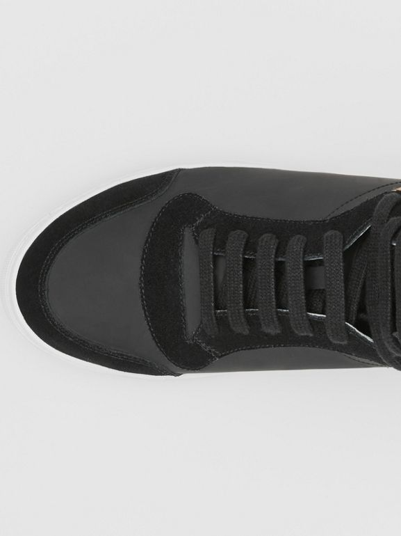 Leather, Suede and House Check High-top Sneakers in Black - Men | Burberry United States - cell image 1
