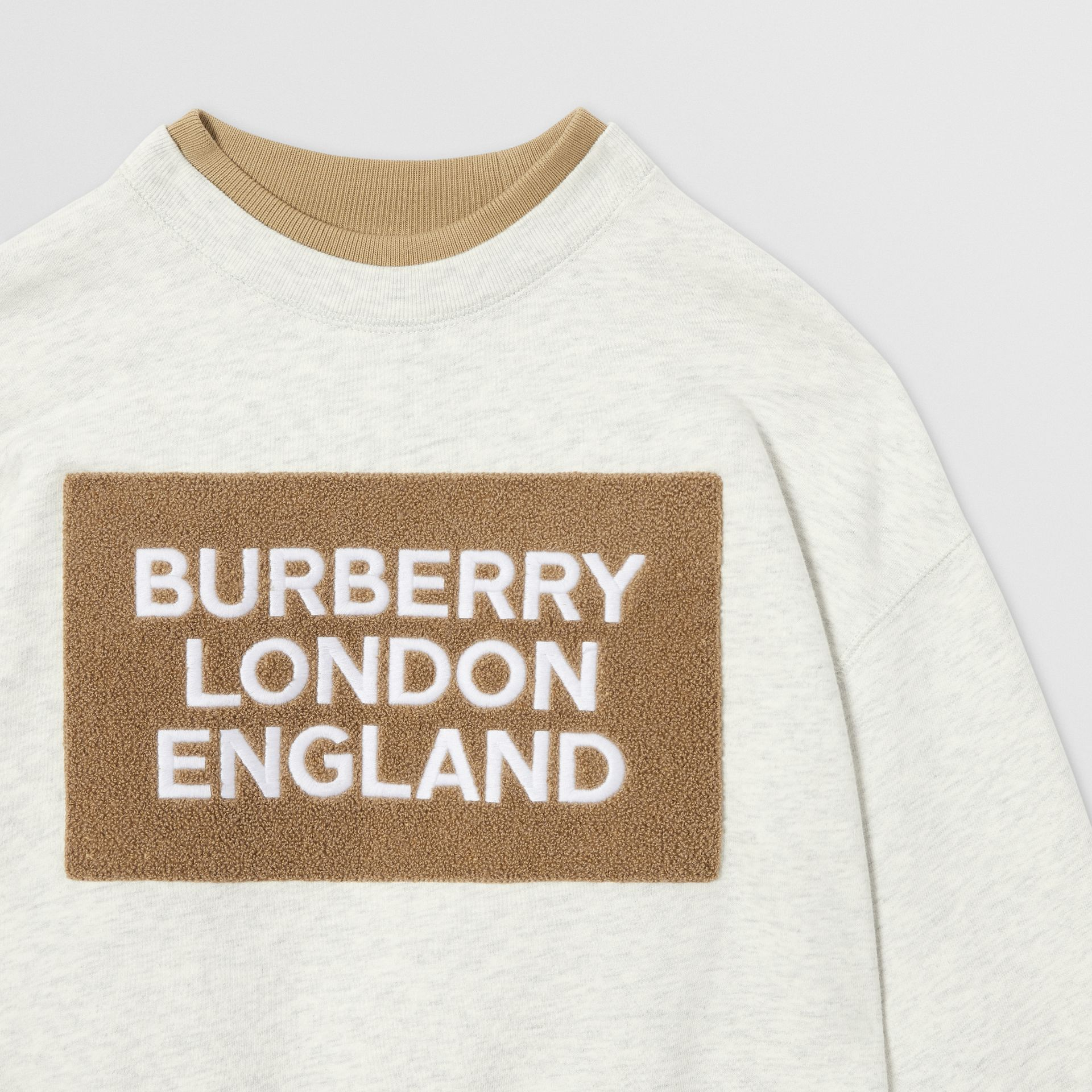 Logo Detail Cotton Sweatshirt in White Melange | Burberry Singapore - gallery image 5