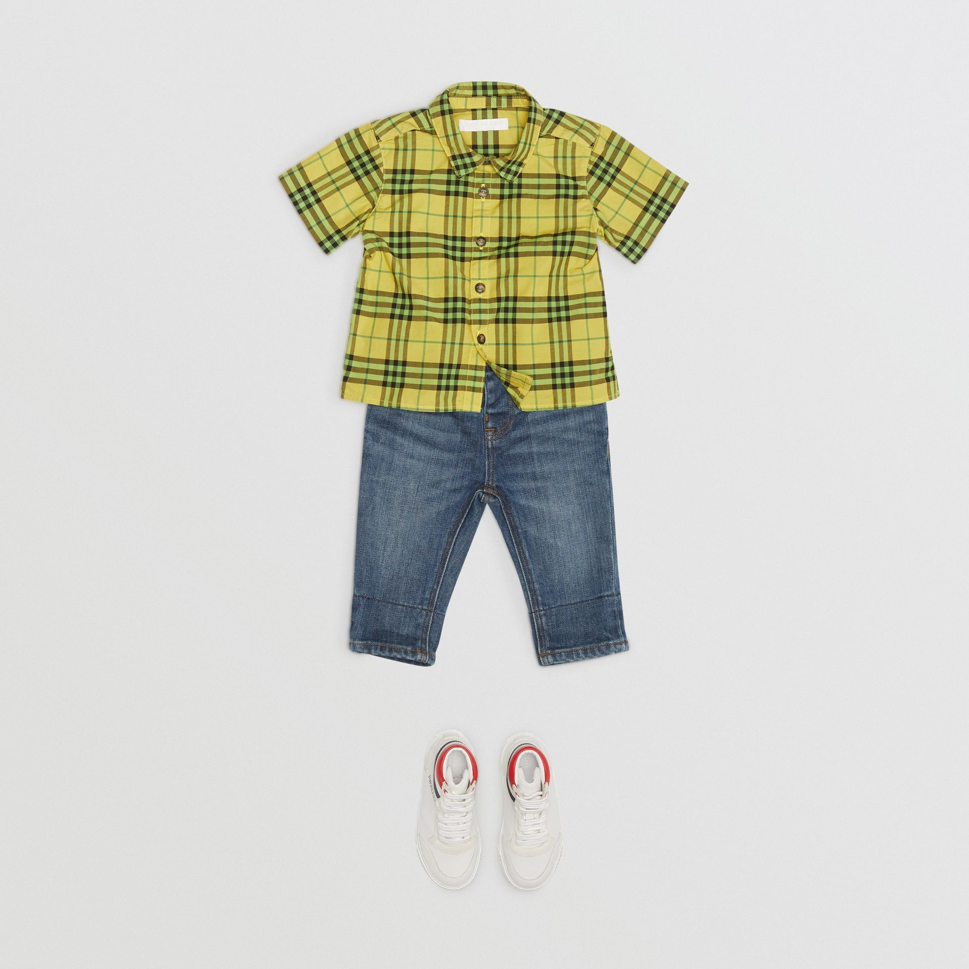 Short-sleeve Check Cotton Shirt in Citron - Children | Burberry Australia - gallery image 2