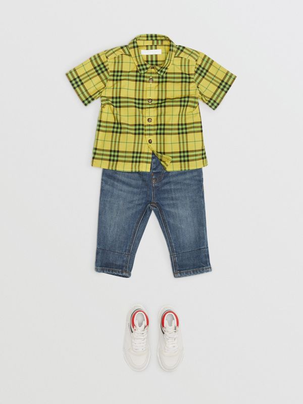 Short-sleeve Check Cotton Shirt in Citron - Children | Burberry Australia - cell image 2