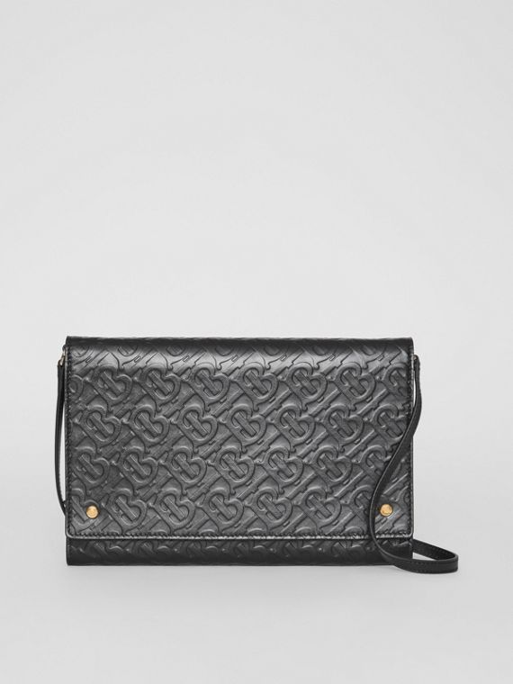 Small Monogram Leather Bag with Detachable Strap in Black