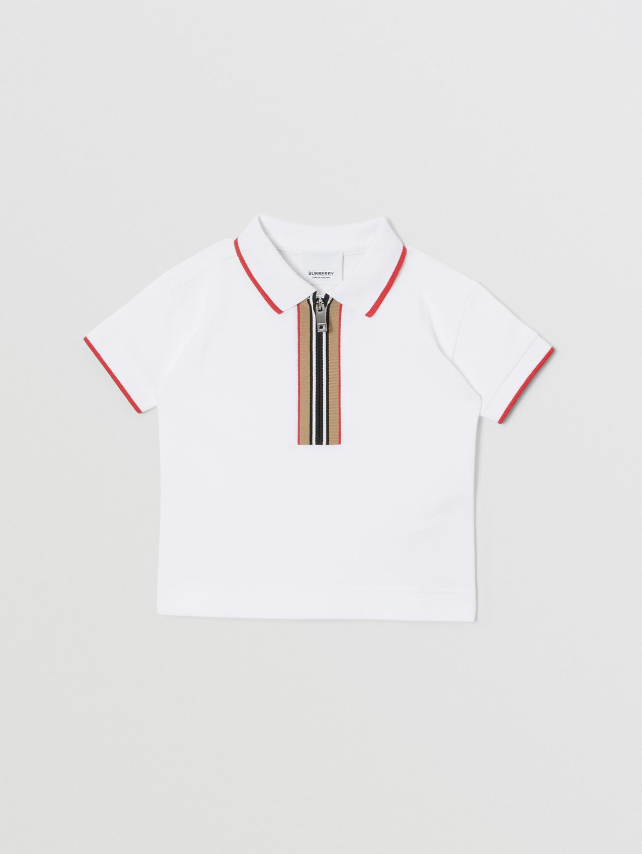Icon Stripe Detail Cotton Zip-front Polo Shirt in White