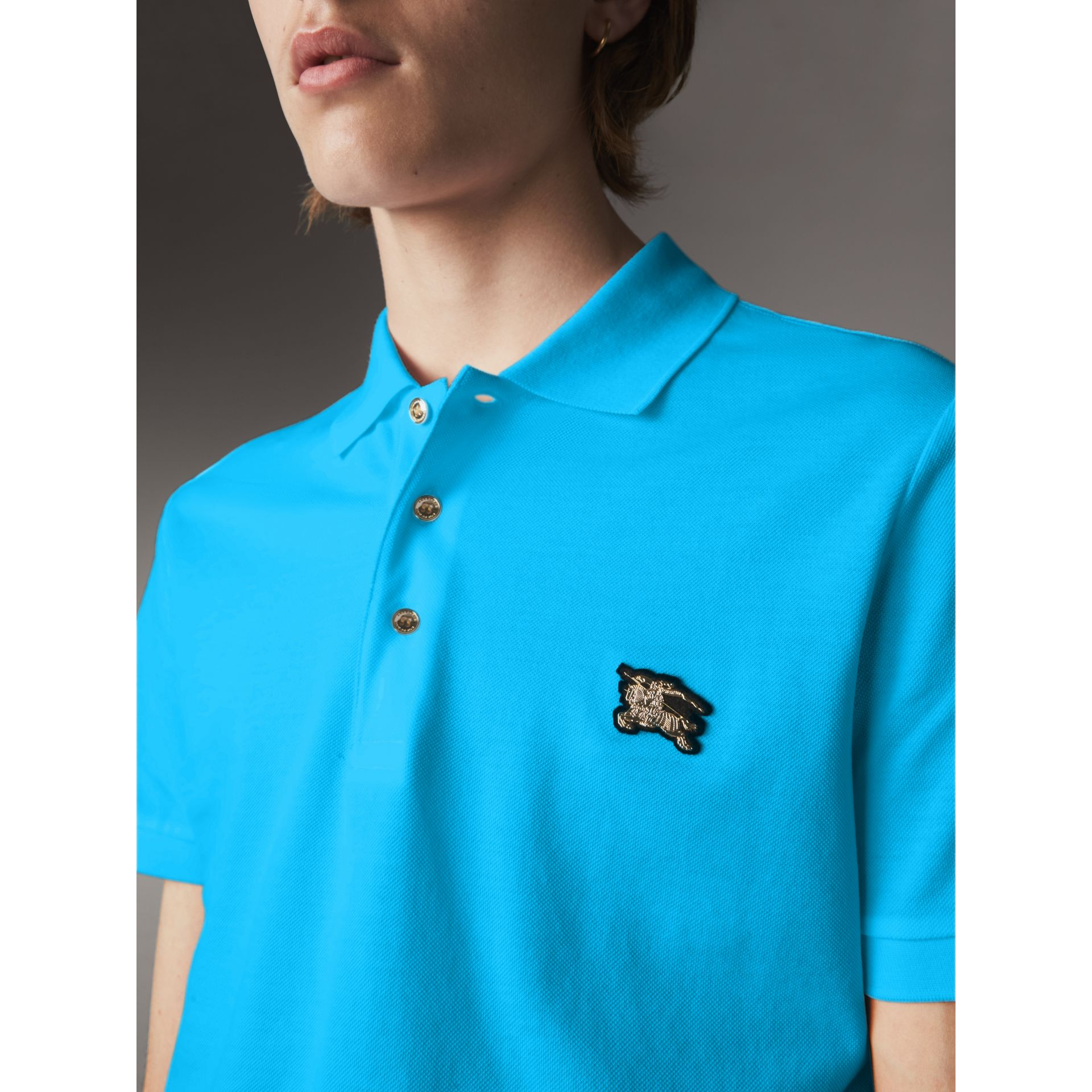 Cotton Piqué Polo Shirt in Cyan Blue - Men | Burberry - gallery image 1