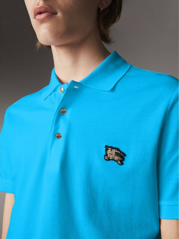 Cotton Piqué Polo Shirt in Cyan Blue - Men | Burberry - cell image 1