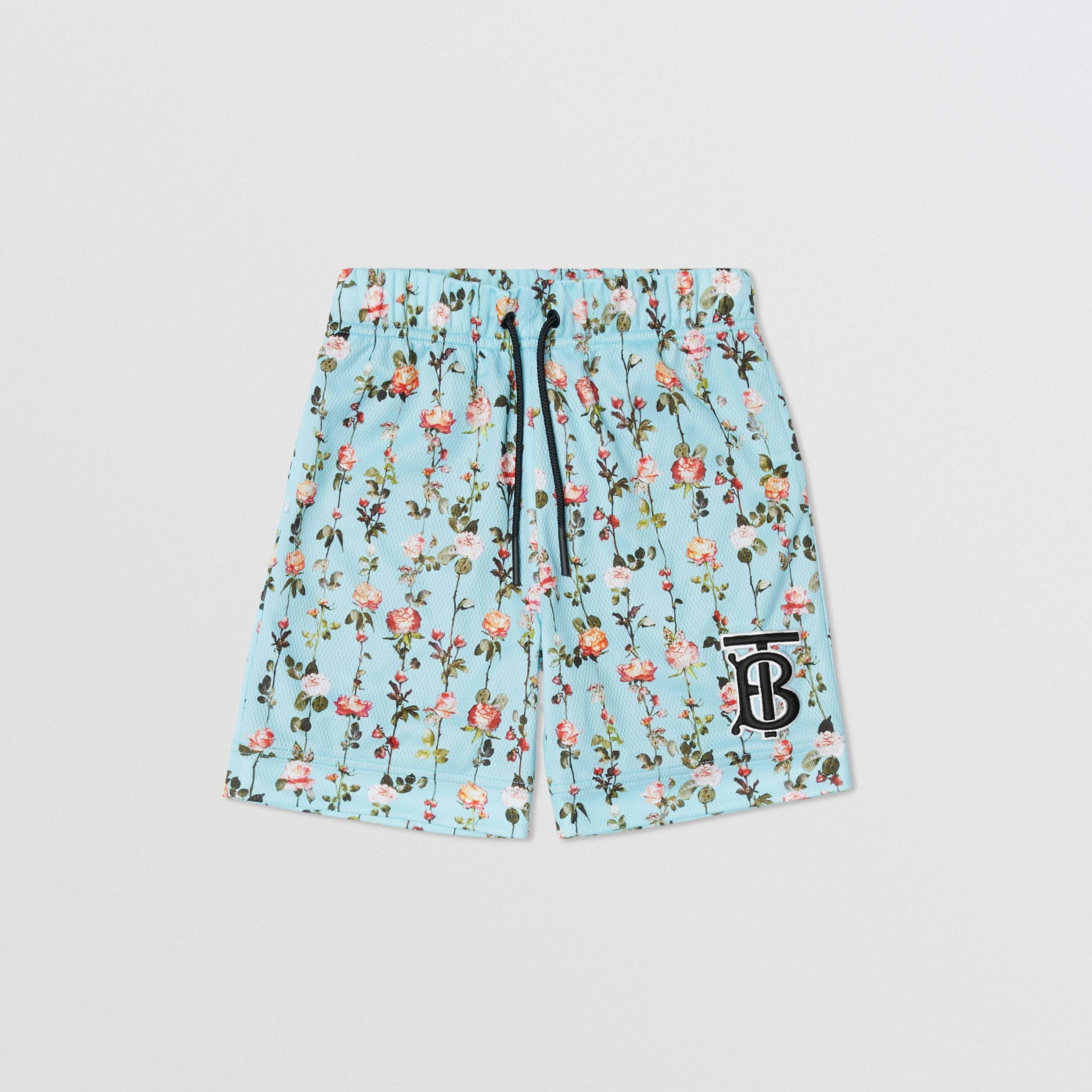 Monogram Motif Rose Print Jersey Mesh Shorts in Blue Topaz | Burberry - 1