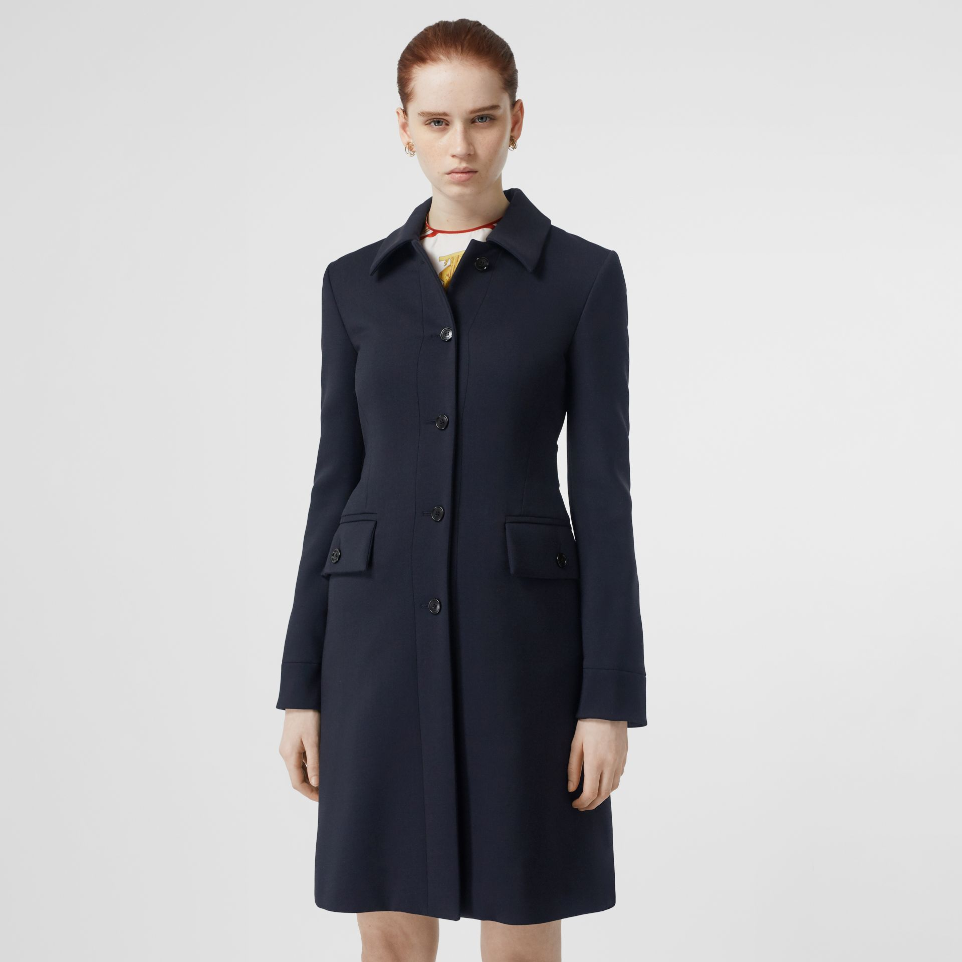 Double-faced Wool Cashmere Blend Coat in Navy - Women | Burberry Australia - gallery image 4