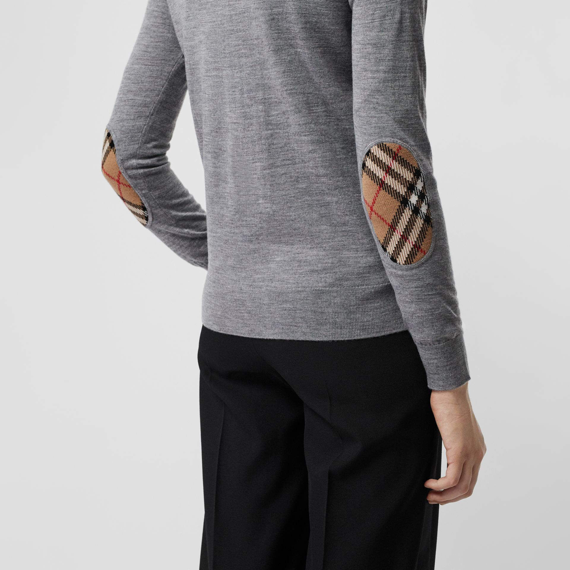 Vintage Check Detail Merino Wool Sweater in Grey Melange - Women | Burberry Singapore - gallery image 1