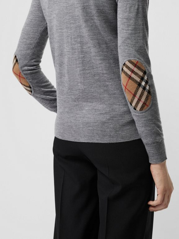 Vintage Check Detail Merino Wool Sweater in Grey Melange - Women | Burberry - cell image 1