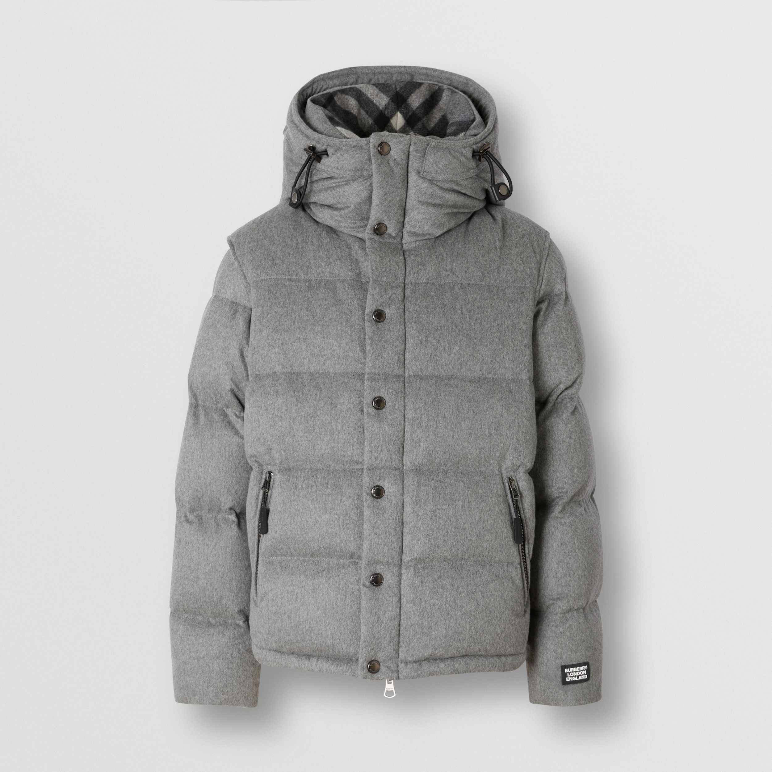 Detachable Sleeve Cashmere Hooded Puffer Jacket in Mid Grey Melange - Men | Burberry United States - 4