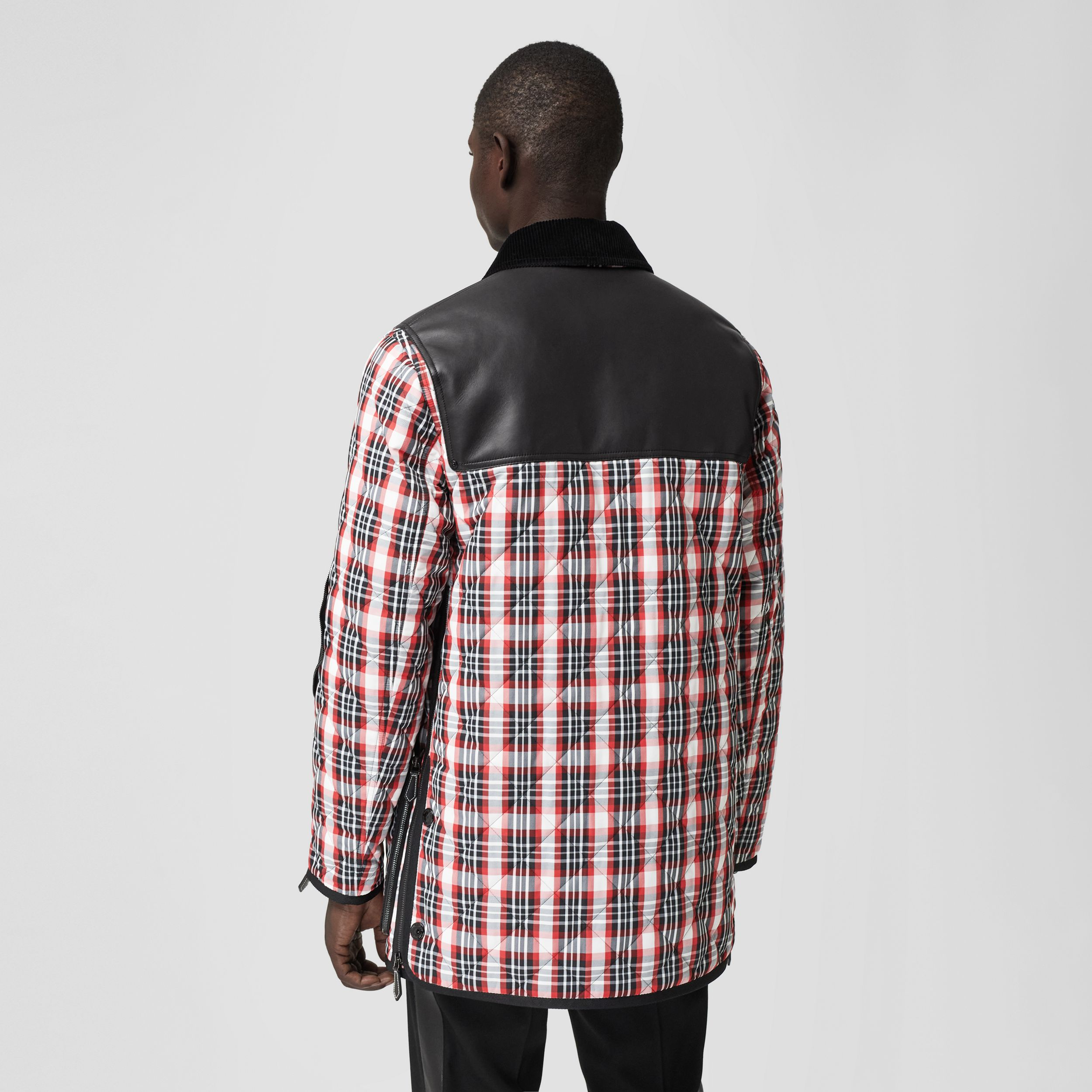 Lambskin Panel Diamond Quilted Tartan Barn Jacket in Bright Red | Burberry Australia - 3
