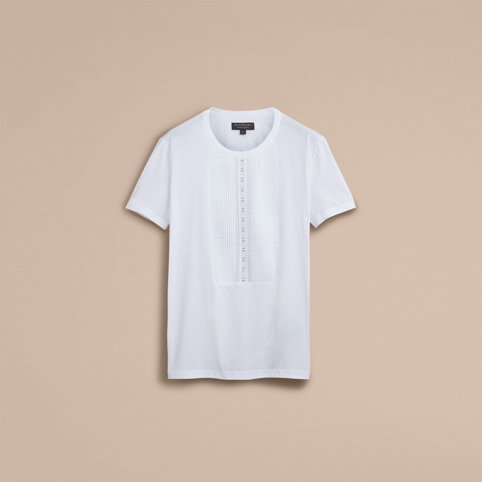 Pintuck and Lace Bib Detail Cotton T-shirt in White - Men | Burberry - gallery image 4