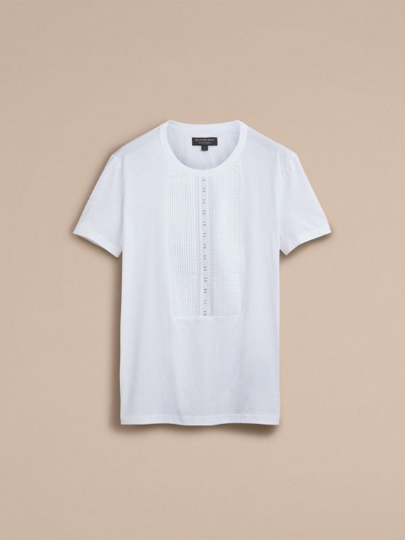Pintuck and Lace Bib Detail Cotton T-shirt in White - Men | Burberry - cell image 3