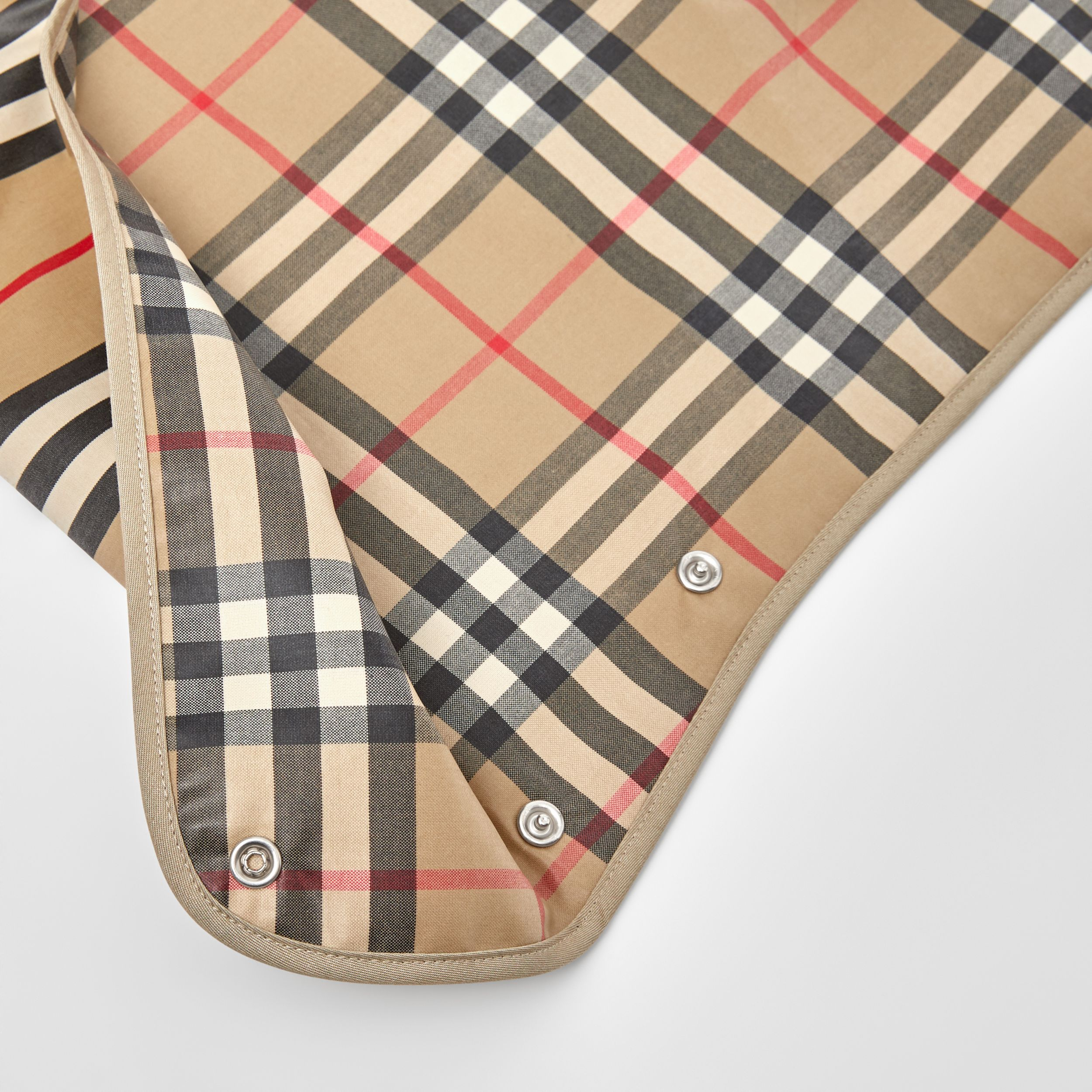 Coated Vintage Check and Icon Stripe Bib in Archive Beige - Children | Burberry - 2