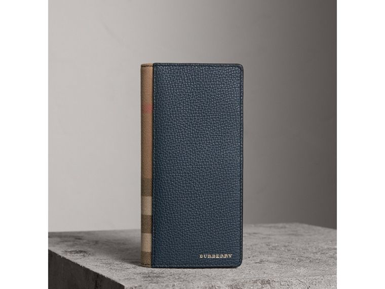 House Check and Grainy Leather Continental Wallet in Storm Blue | Burberry United Kingdom - cell image 1