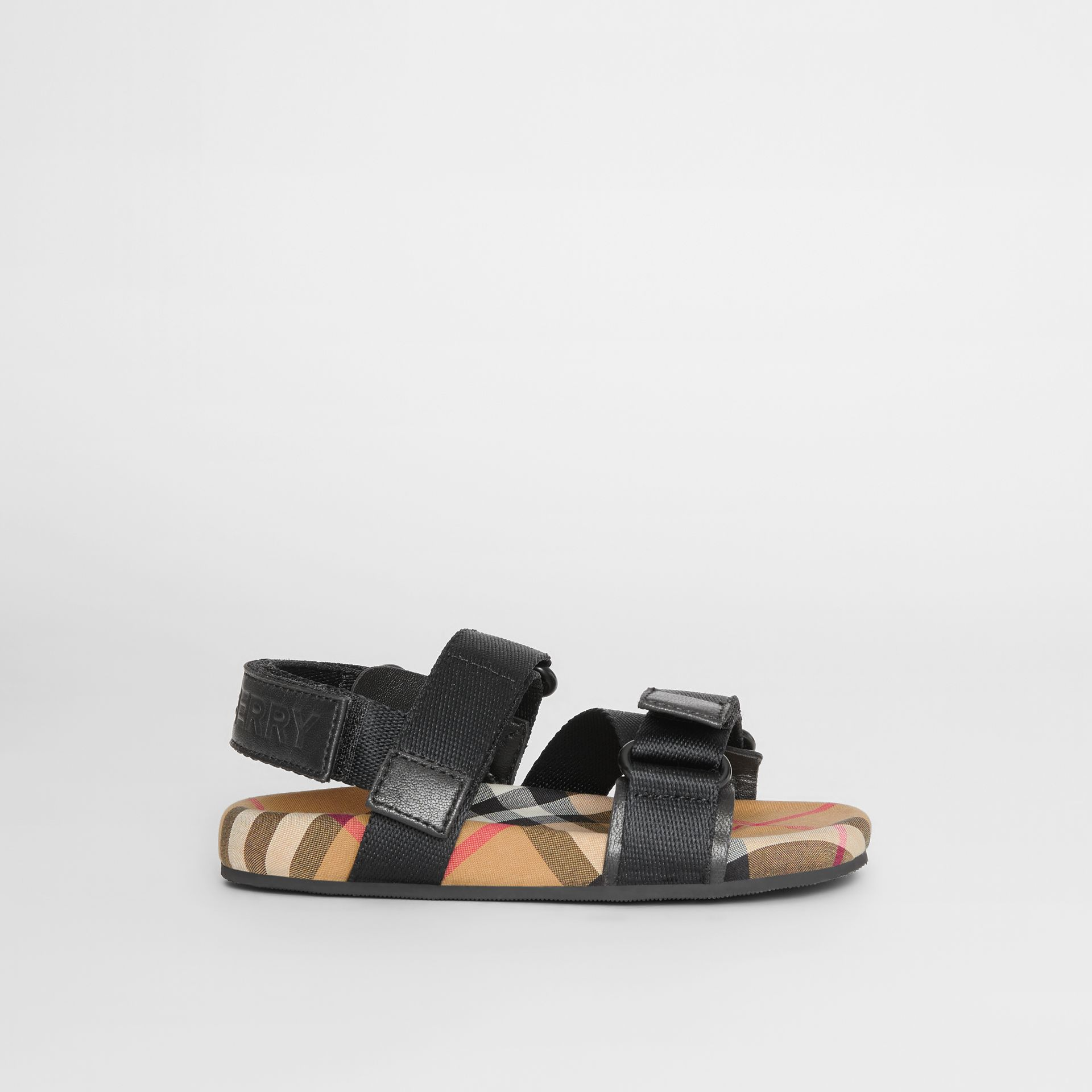 Ripstop Strap Vintage Check Cotton Sandals in Black/antique Yellow - Children | Burberry - gallery image 3