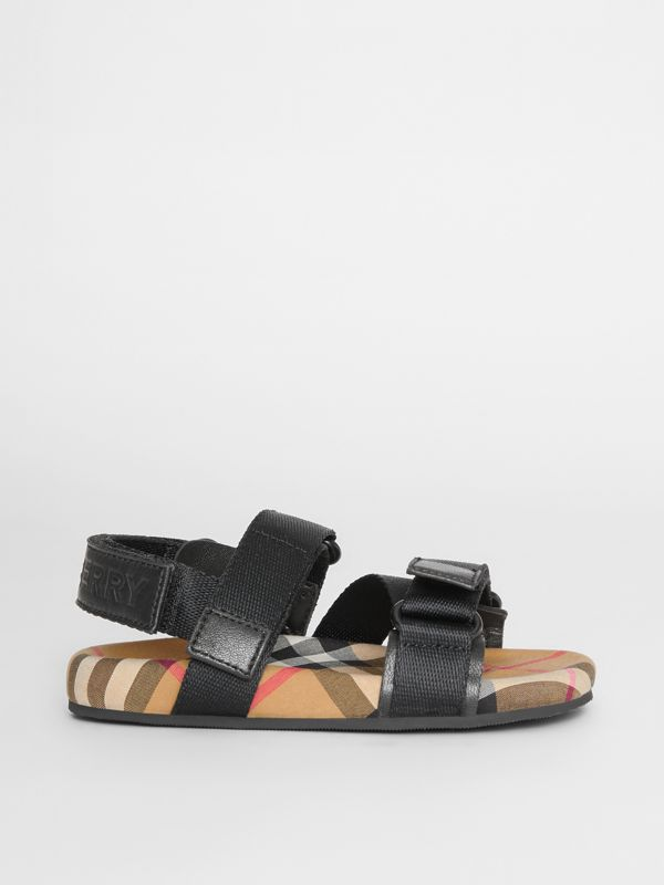 Ripstop Strap Vintage Check Cotton Sandals in Black/antique Yellow - Children | Burberry - cell image 3