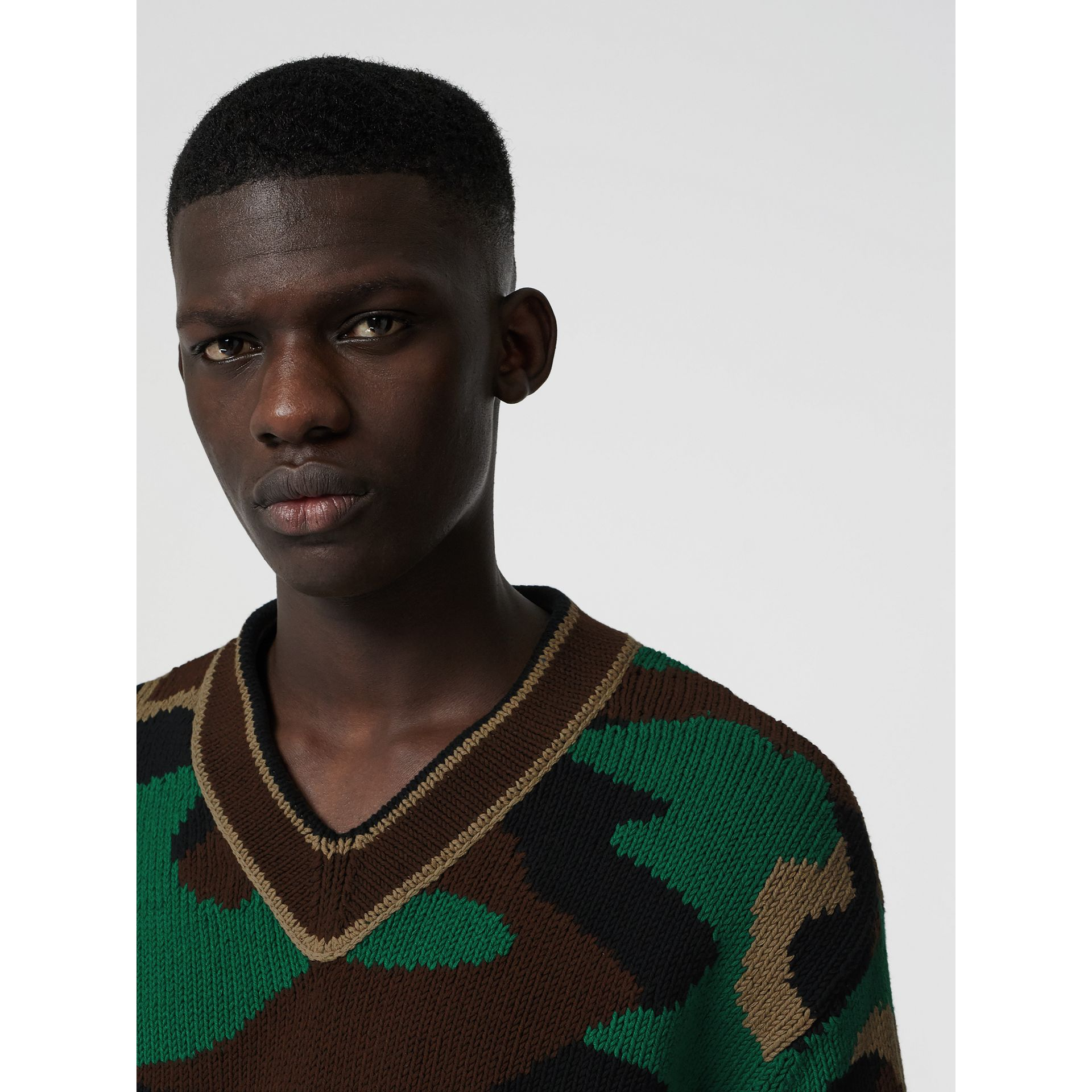 Camouflage Intarsia Cotton Blend Sweater in Forest Green - Men | Burberry Australia - gallery image 1