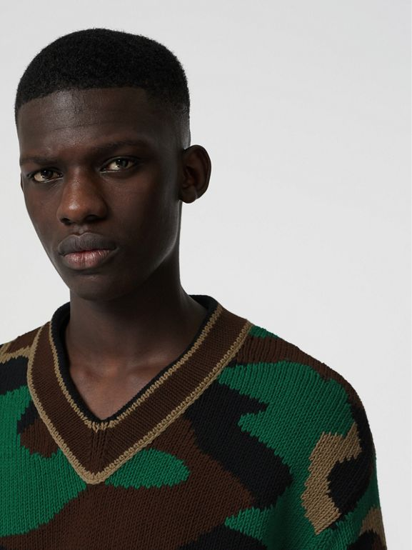 Camouflage Intarsia Cotton Blend Sweater in Forest Green - Men | Burberry Australia - cell image 1