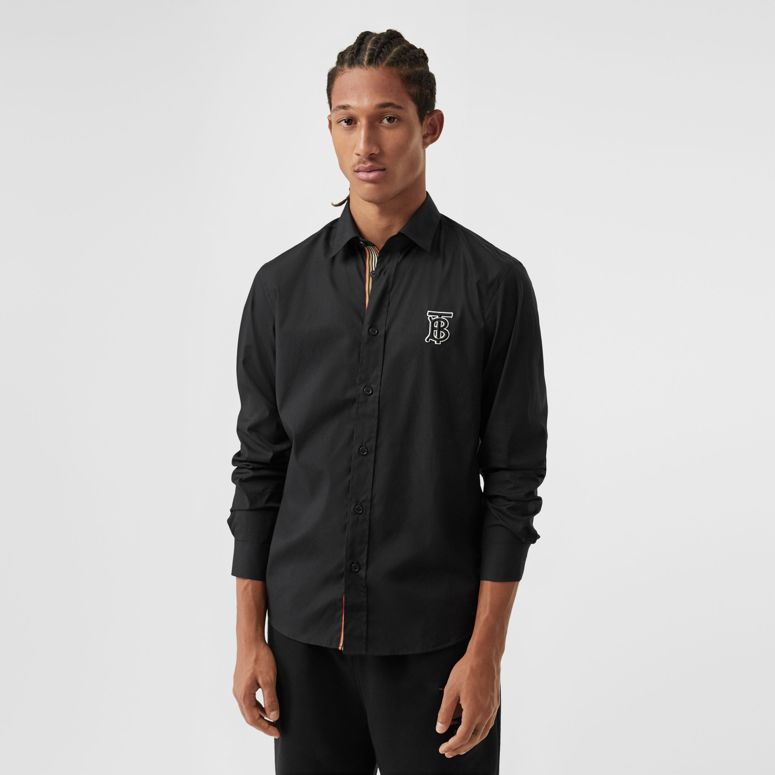 Monogram Motif Stretch Cotton Poplin Shirt in Black - Men | Burberry - 1